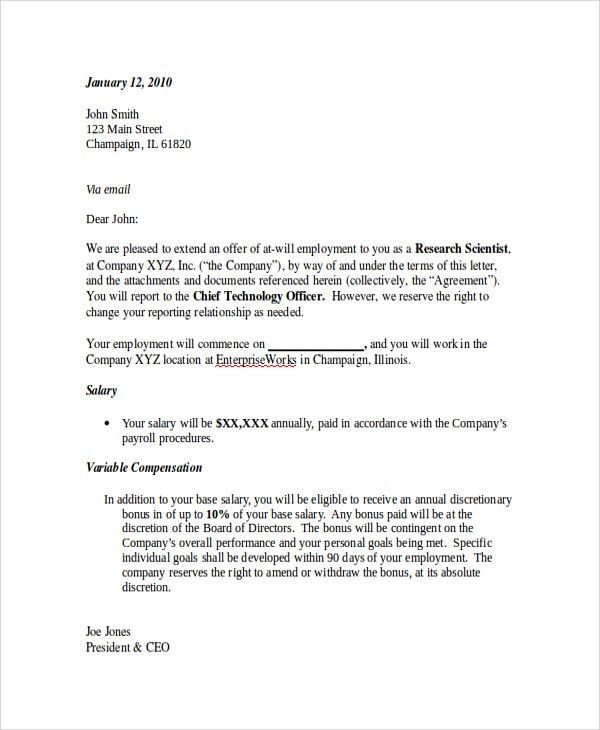 Sample Employment Offer Letter - 8+ Documents in PDF, WORD
