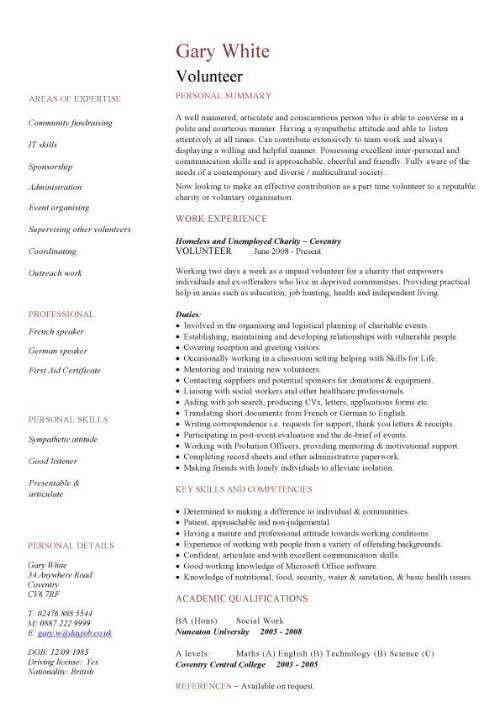 Volunteer CV sample