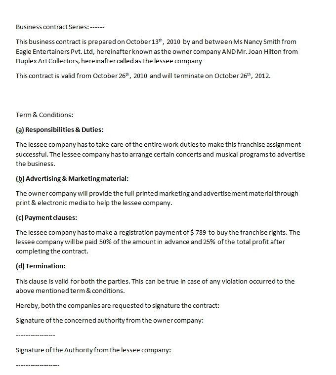 Simple Business Contract Template Sample with Paragraphs Format ...