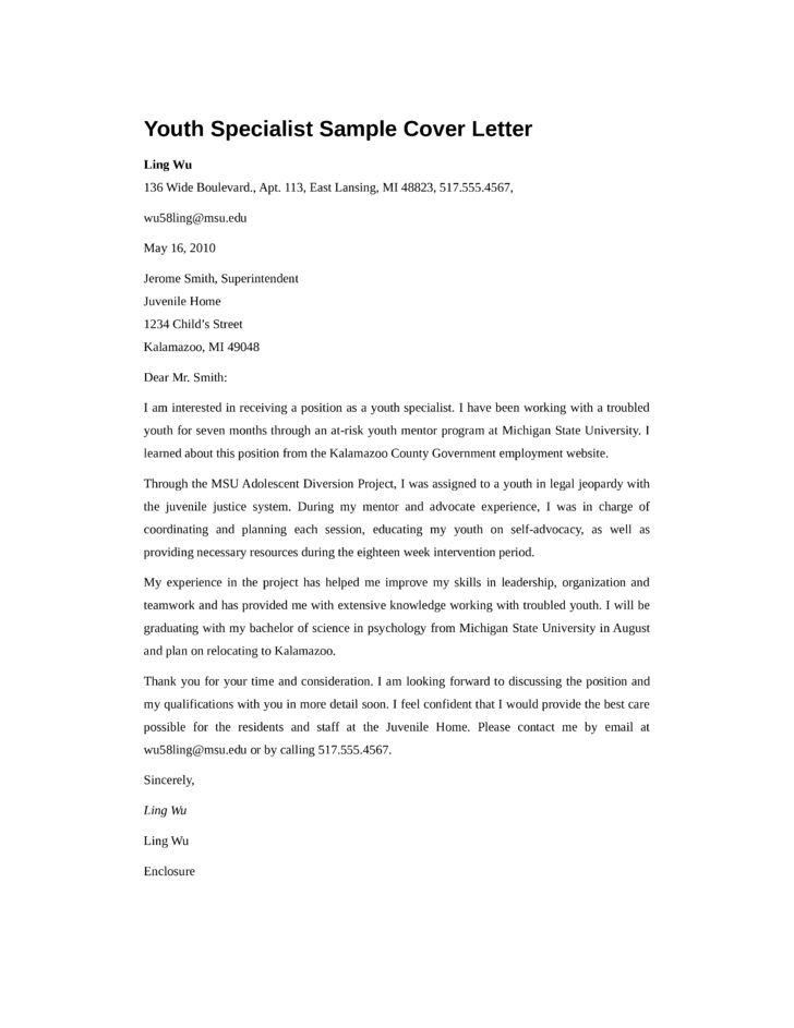 Basic Youth Specialist Cover Letter Samples and Templates