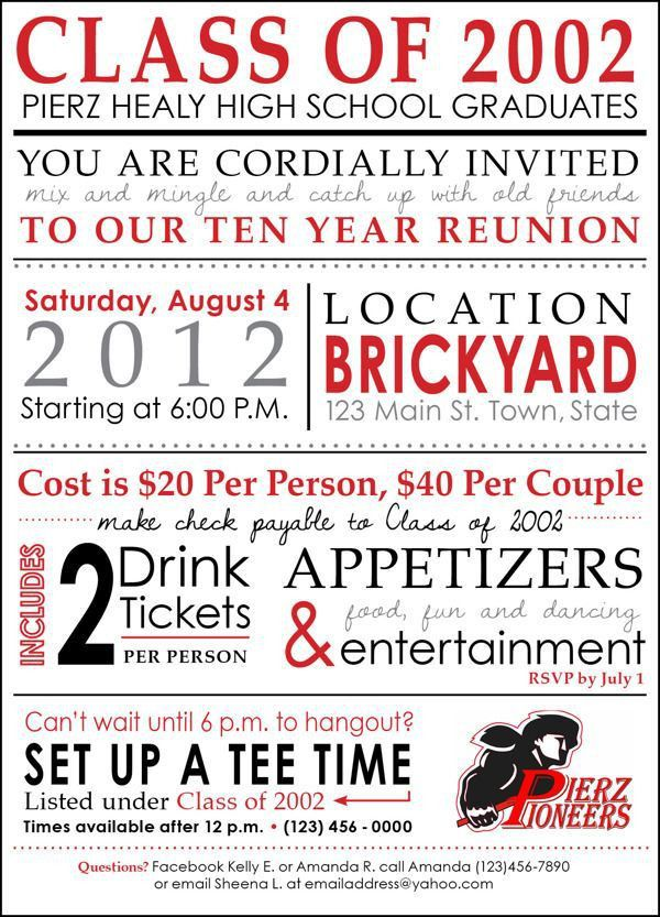 64 best High School Reunion Invites images on Pinterest | High ...