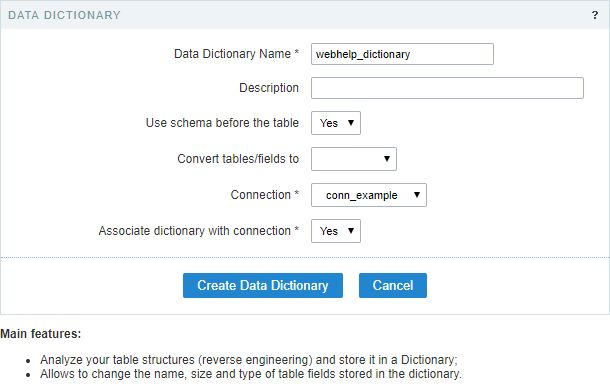 Data Dictionary - Scriptcase Manual
