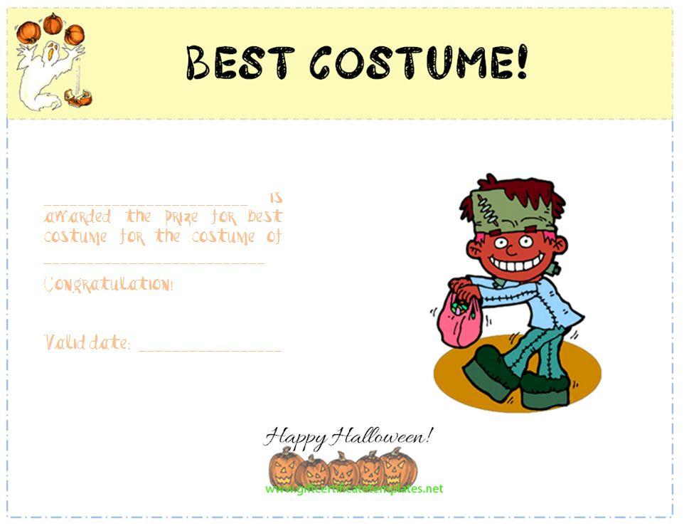Best Costume Award Certificate Template - Free Certificate Templates