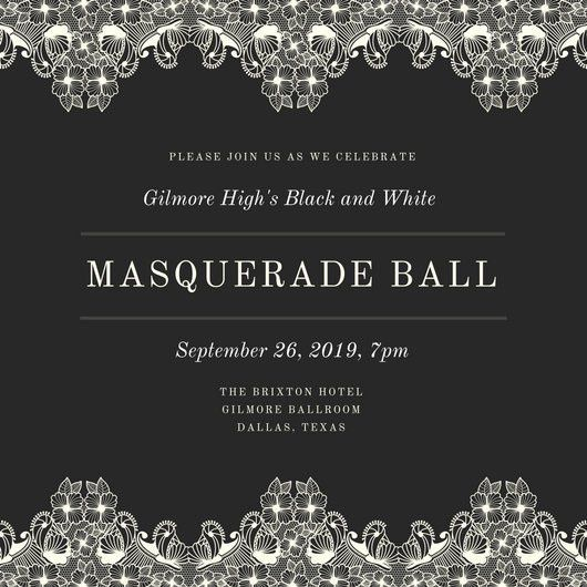 Black and White Fancy Masquerade Invitation - Templates by Canva