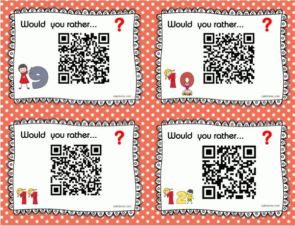 32 Would You Rather Questions with Task Cards and QR Codes | K-5 ...