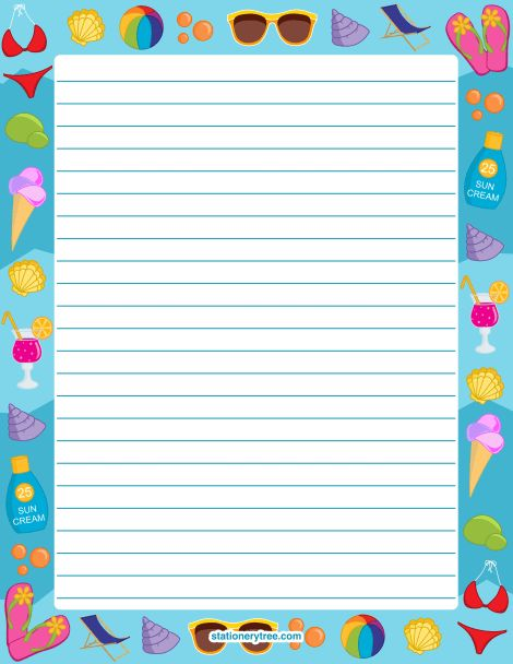 Printable summer stationery and writing paper. Multiple versions ...