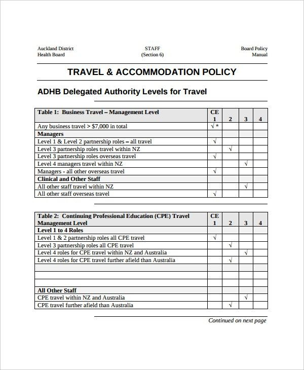 Travel Policy Template - 7+ Free Word, PDF Document Downloads ...