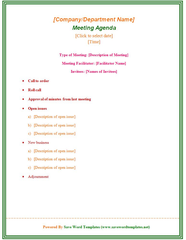 Formal Meeting Agenda Template - Save Word Templates