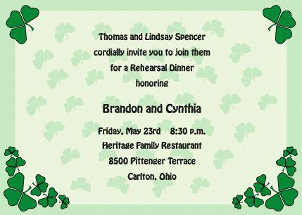 Irish Rehearsal Dinner Invitations