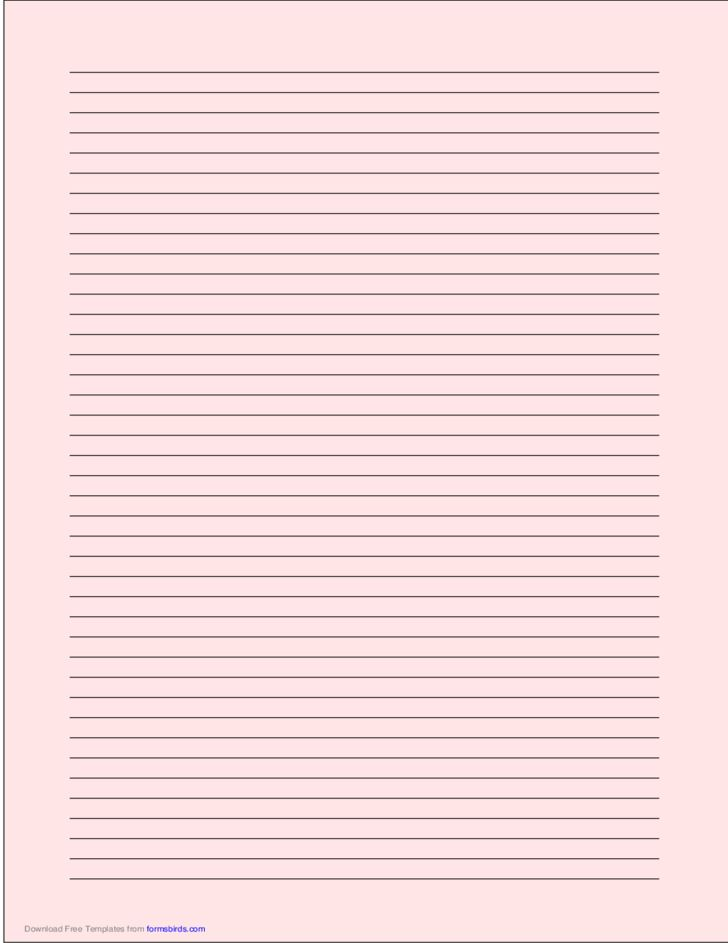 A4 Size Lined Paper with Narrow Black Lines - Light Red Free Download