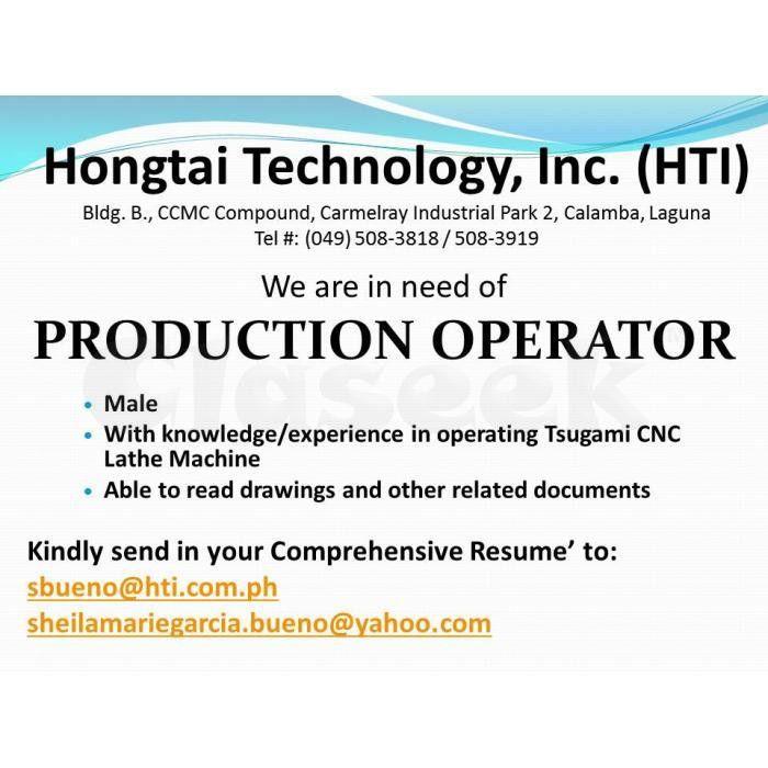 JOB POSTING FOR PRODUCTION OPERATOR Calamba - Claseek™ Philippines
