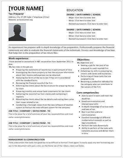 Tax Preparer Resume Templates for MS Word | Resume Templates