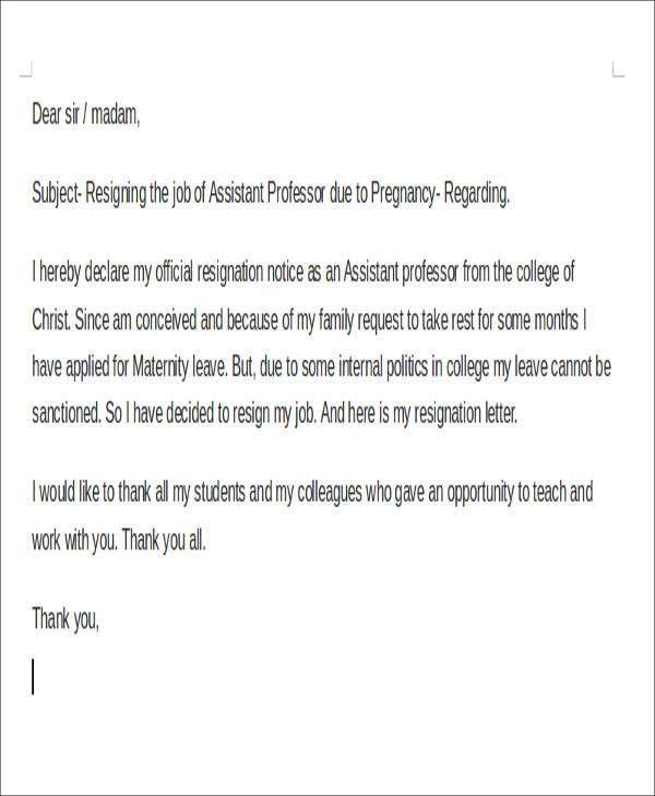 Sample Pregnancy Resignation Letters. Pregnancy Resignation Letter ...