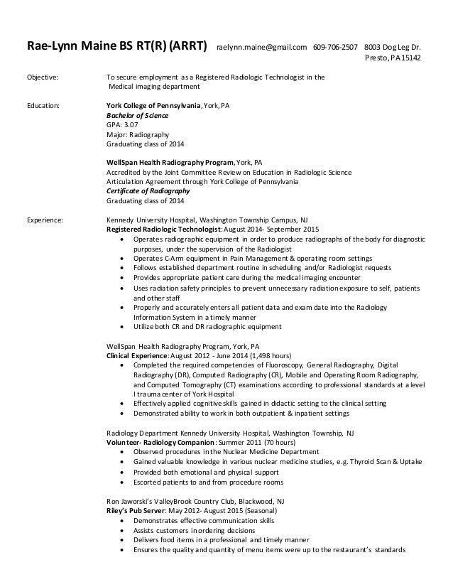 Radiographer resume sample resume for radiographer creative