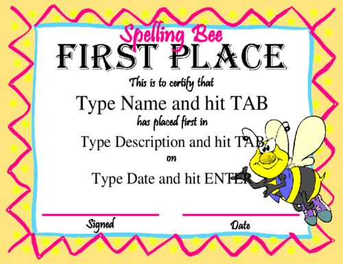 Award Certificate Templates  First Place Certificate