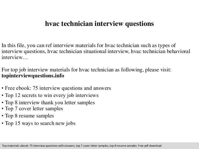 Hvac technician interview questions
