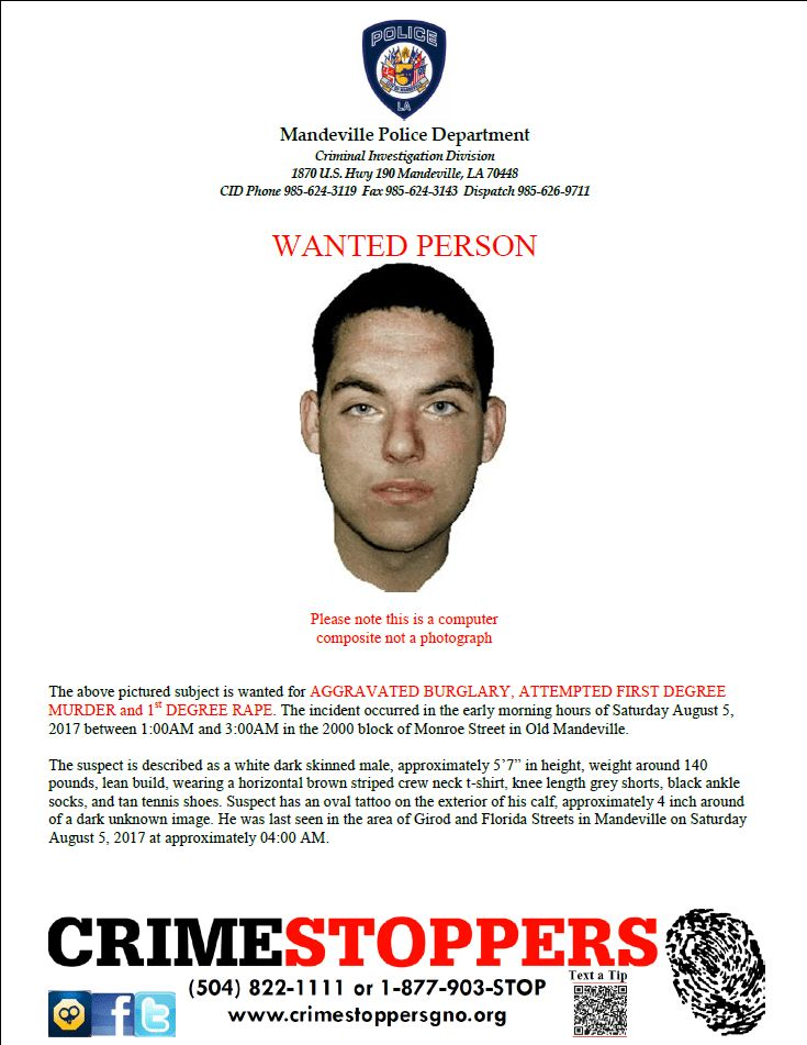 Mandeville police release composite image of 1st degree rape ...