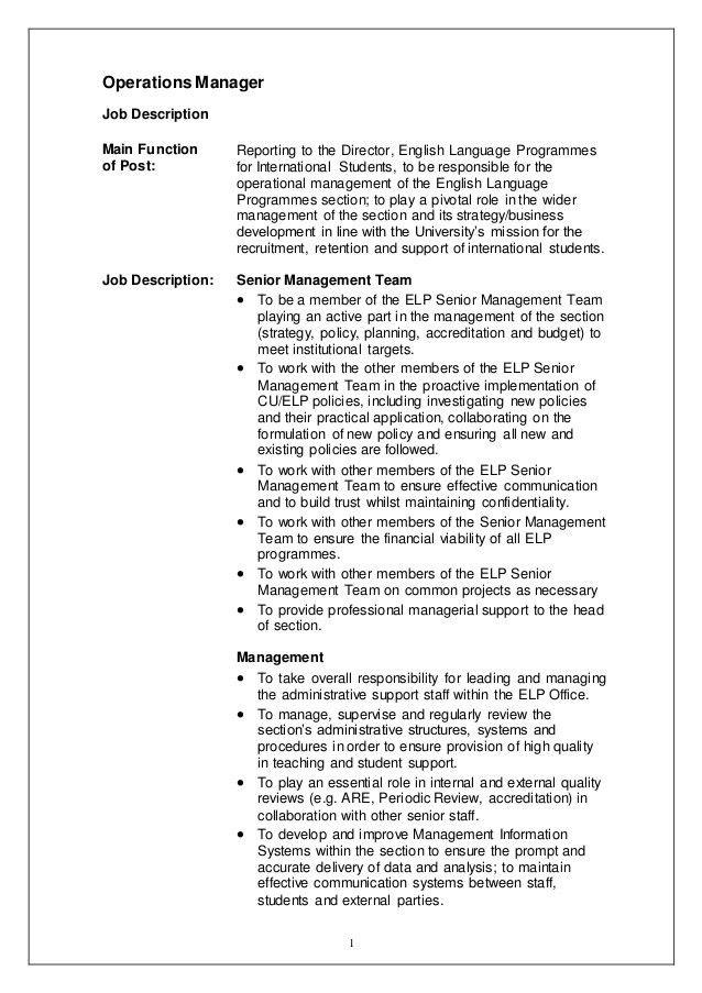 Operations Manager - Job Description - confirmed
