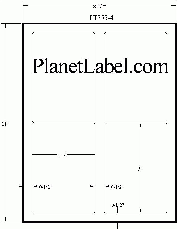 White Uncoated Labels - Rectangle 3 1/2 x 5 | LT355-4