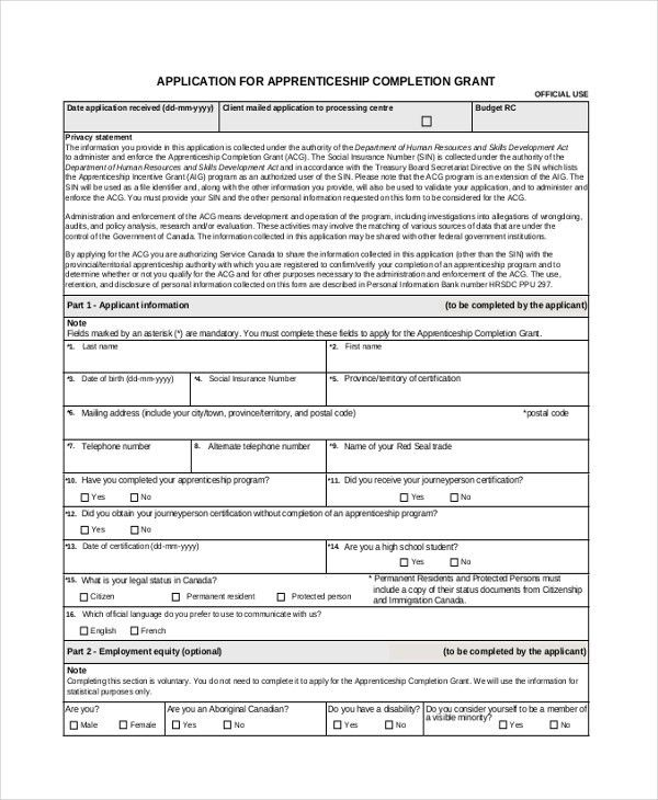 Application Form Sample. Apprenticeship Grant Application Form ...