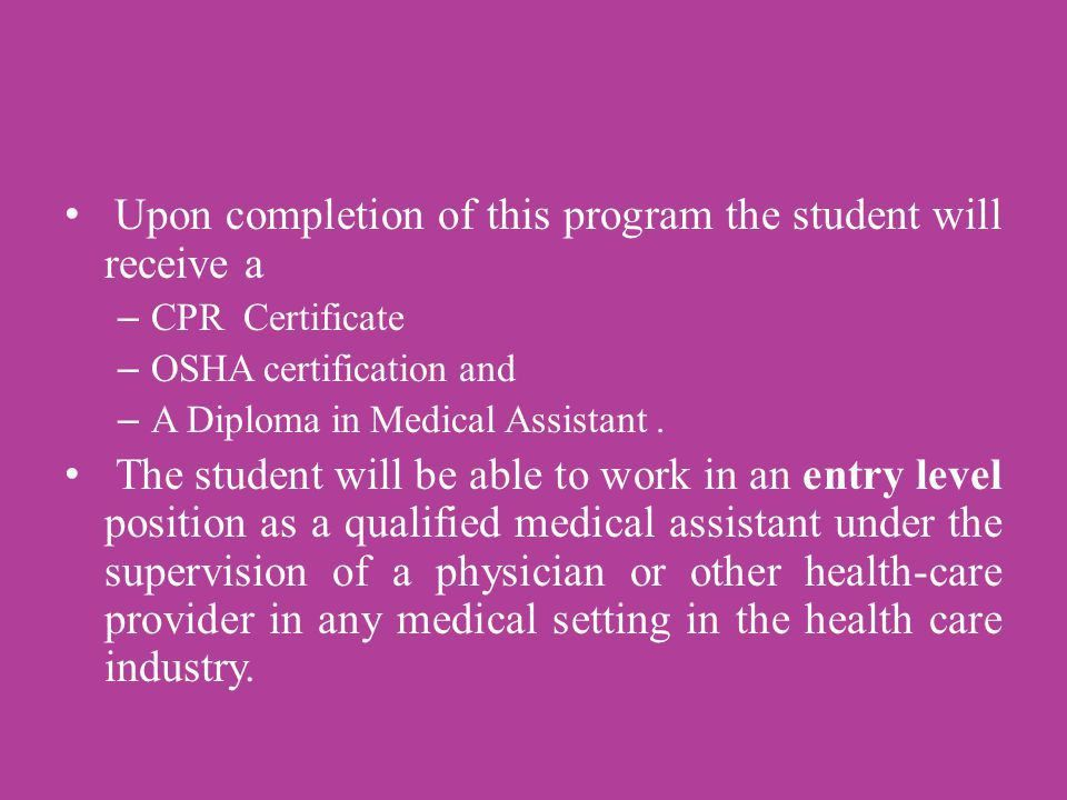 Train for a career in Medical Assisting at CAMTECH. - ppt download