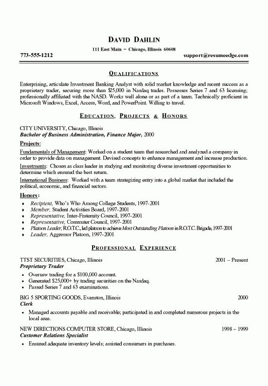 Finance Student Resume Example student resume template microsoft ...