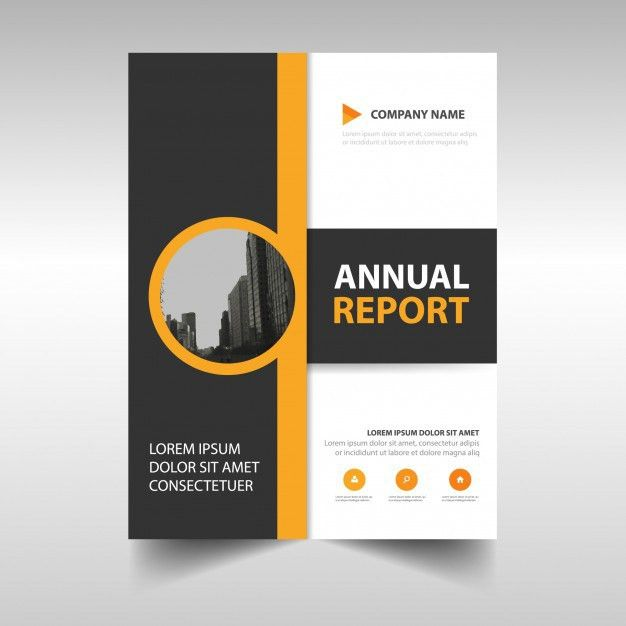 Yellow abstract annual report template Vector | Free Download
