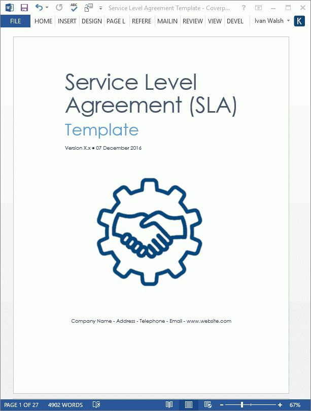 Service Level Agreement Template - Download 2 MS Word & 3 Free Excel