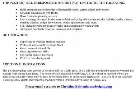 wedding planner: Wedding Planner Resume, Wedding Planning Resume ...