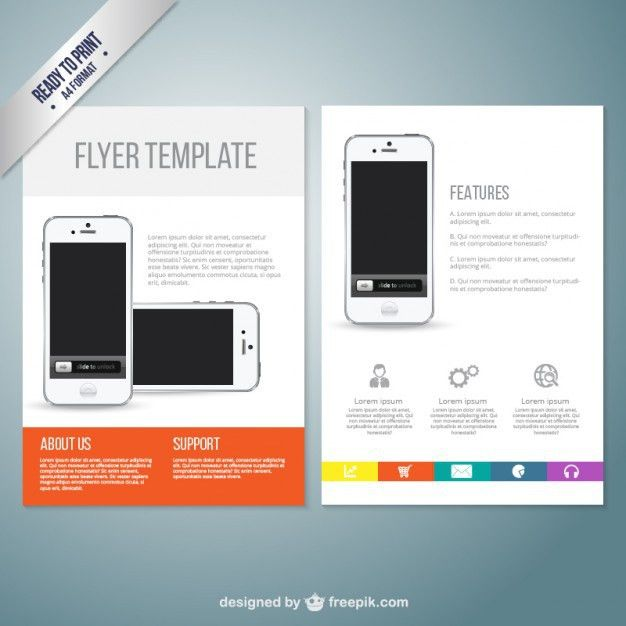 Flyer template with mobile phone Vector | Free Download