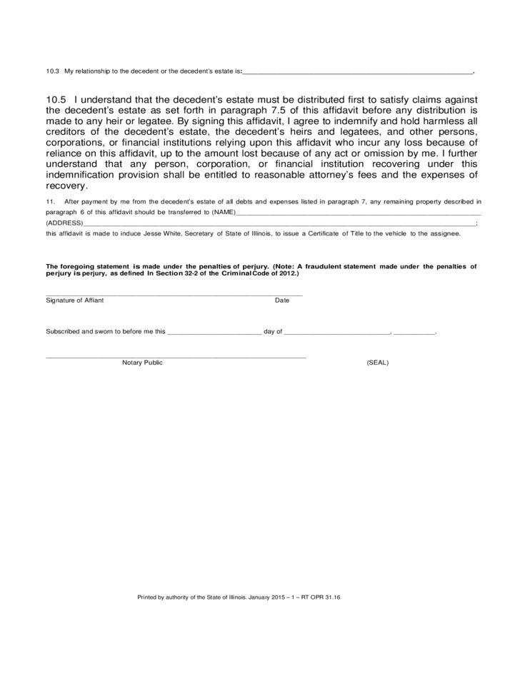 Small Estate Affidavit Form - Illinois Free Download