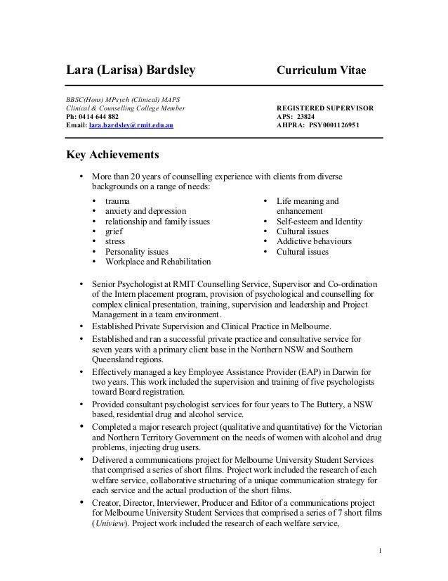 Psychologist CV