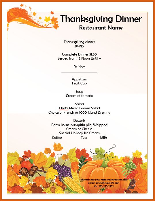 thanksgiving menu template | apa examples