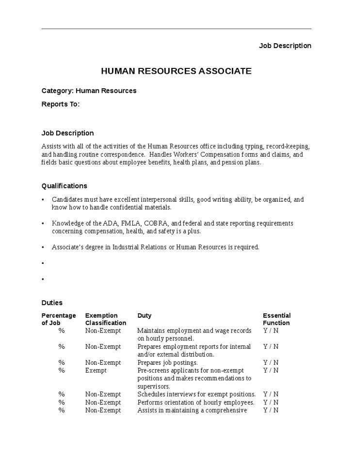 Human Resource Associate Job Description Human Resources – Associate Editor Job Description