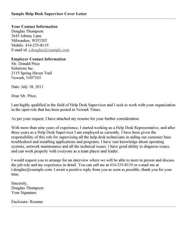 Help Desk Cover Letter Sample] Best Help Desk Cover Letter