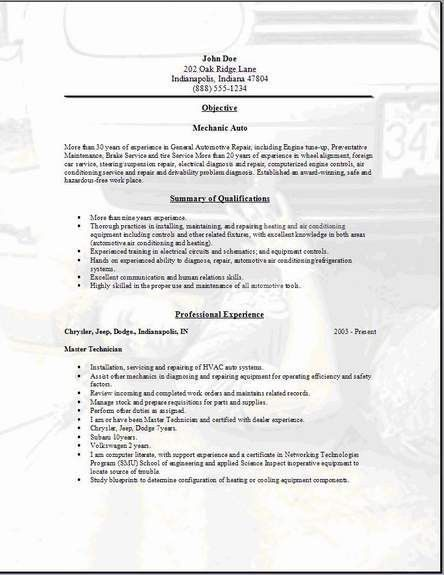 Mechanic Auto Resume, Occupational:examples,samples Free edit with ...