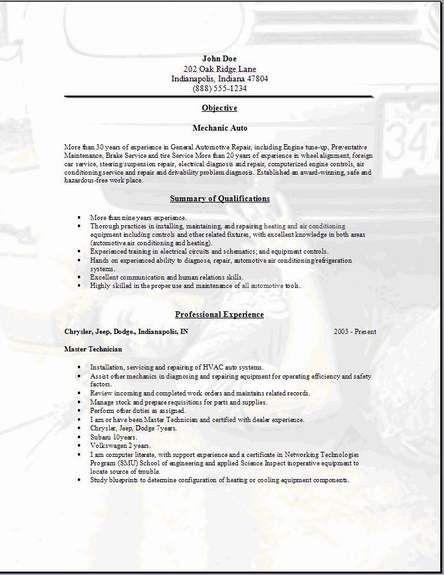 mechanic resume samples visualcv resume samples database. homely ...