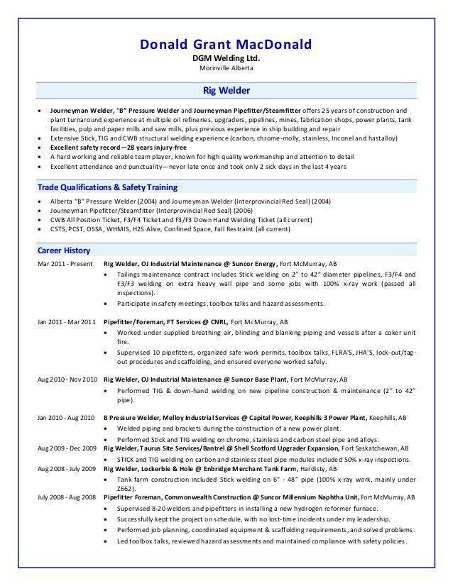sample resume for welder unforgettable welder resume examples to
