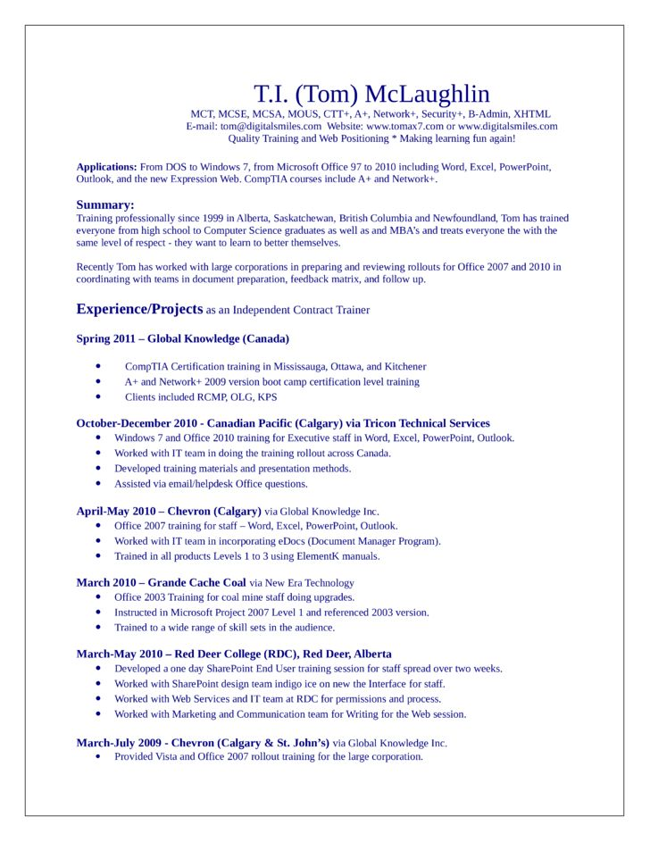Sharepoint Trainer Sample Resume] Software Contract Template With ...