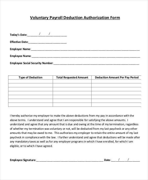 Payroll Deduction Form Template - 9+ Free Sample, Example, Format ...