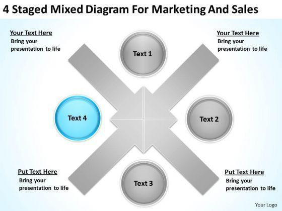4 Staged Mixed Diagram For Marketing And Sales Ppt Business Case ...