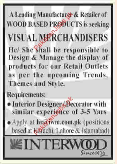 Visual Merchandisers Wanted In Karachi, Lahore & Islamabad ...