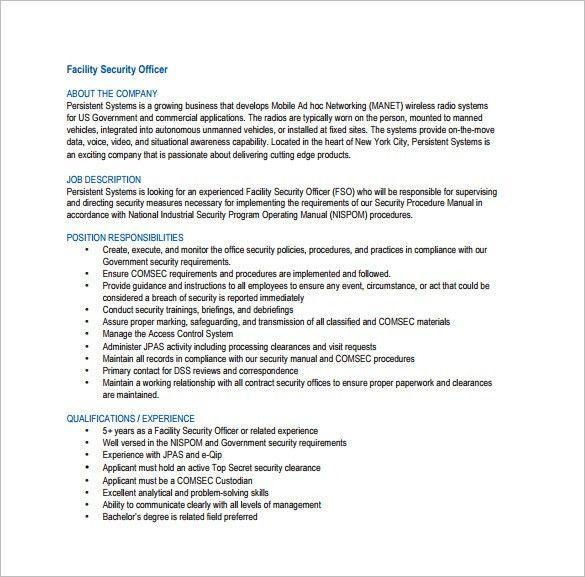 Security Officer Job Description Template – 13+ Free Word, PDF ...