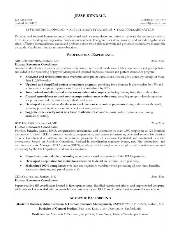 Human Resources Objective For Resume | Samples Of Resumes