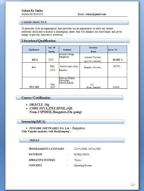 standard resume format for mca freshers. mca fresher resume format ...