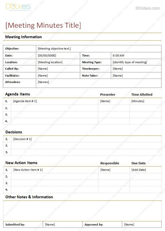 Project Meeting Minutes Template. Meeting Minutes Template Doc ...