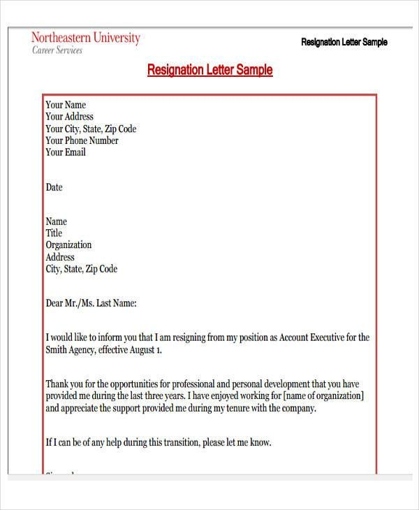 Business Resignation Letter Template - 8+ Free Word, PDF Format ...
