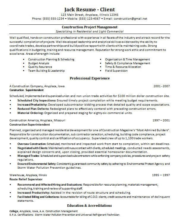 project manager cv template construction project management jobs ...