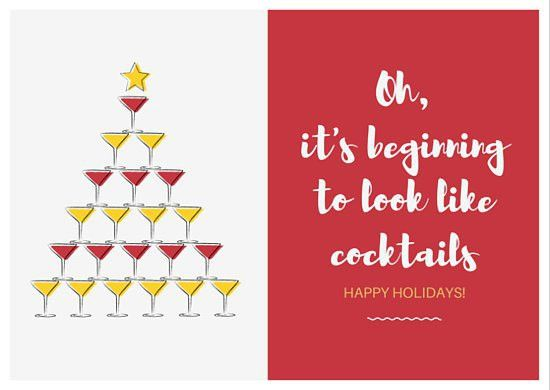 Cocktails Tree Christmas Card - Templates by Canva