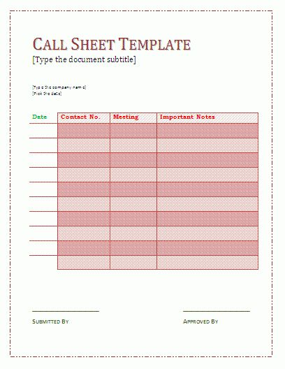 Call Sheet Template | cyberuse
